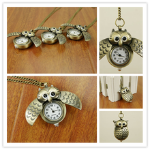 2016wholesale antique lovely new owl face pocket watch