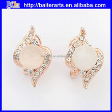 Wholesale jewelry rose gold crystal pink opal studing earring