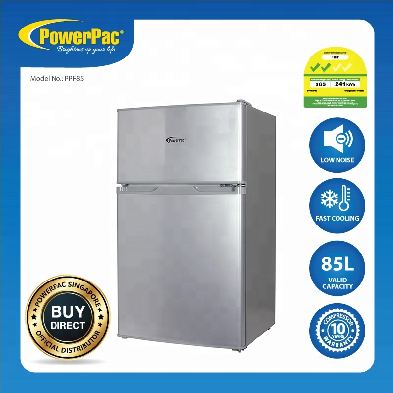 PowerPac 85L 2 Door Mini Bar Fridge with Freezer (PPF85) Stocks <strong>Appliances</strong> (Available Stocks)