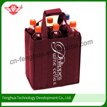 Promotional customized recyclable 6 bottles non woven wine bag,wine tote bag wholesale