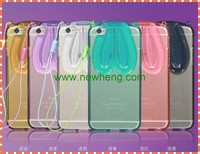 3D Colorful Ear Stand Holder Clear TPU Rabbit Case Cover For iPhone 6S