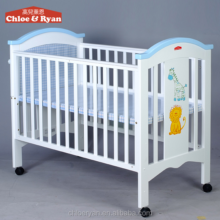 china importers antique Wooden single baby floating cot bed furniture with 4 wheels