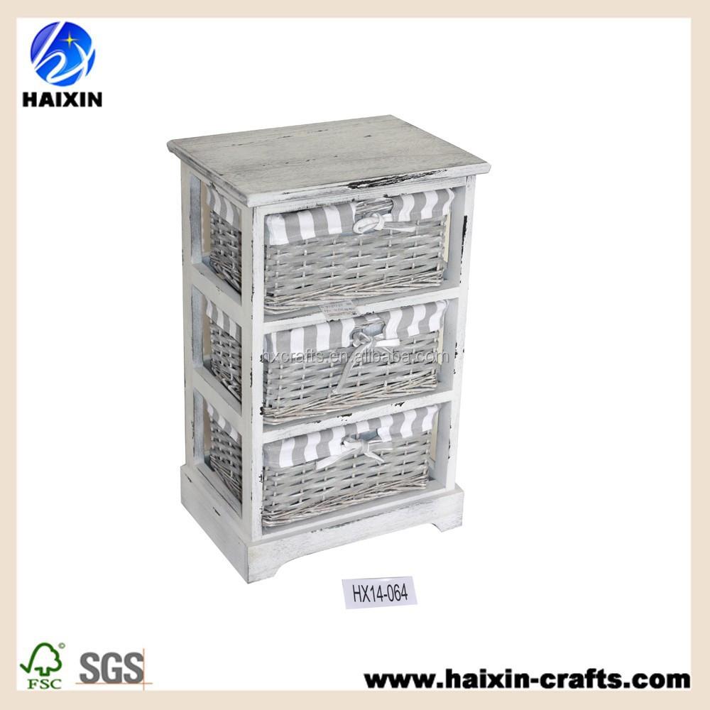 Blanc paniers en osier de stockage en bois armoire coffret en bois avec tiroi - Meuble de rangement avec panier en osier ...