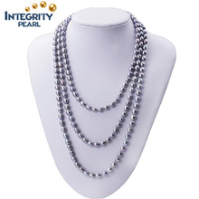 47 inch natural cultured freshwater necklace pearl jewellery designer