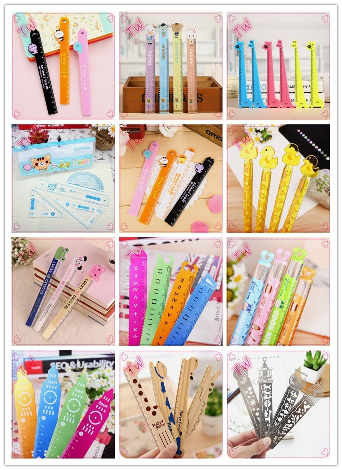 China supplier new innovative cute advertisement stationery ,coloful cartoon design flexible plastic rulers free samples