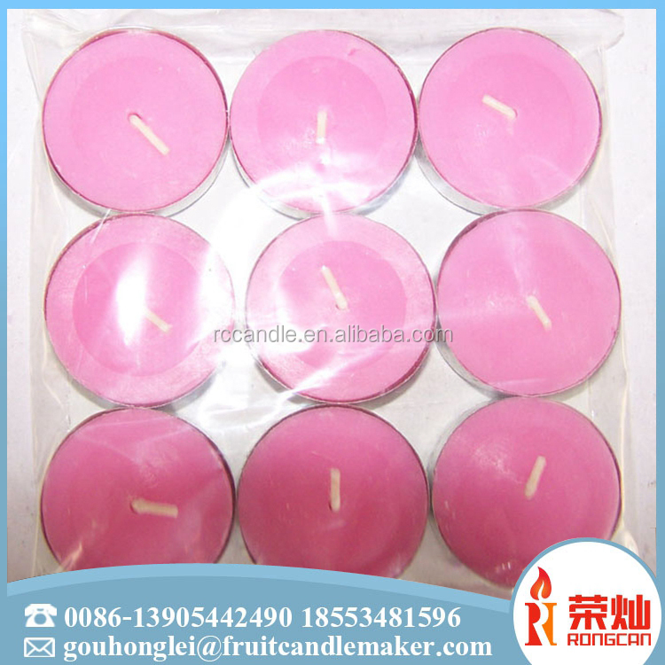 Chinese factory made paraffin wax multicolor heart shape tea light candle