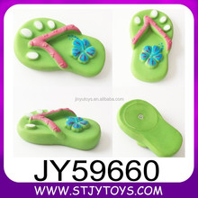 Promotional gift shoes shape vinyl squeeze toy with BB sound for children