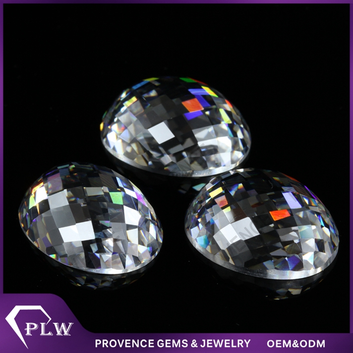 Man-made white checkerboard cut white oval cubic zirconia loose gemstone