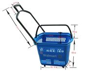 plastic small shopping basket with wheels
