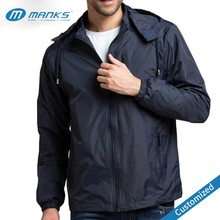 Customized Men High Quality 100% Polyester Dry Fit Waterproof Jacket With Windbreaker Door