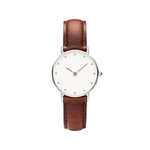 Lady changed color genuine leather strap stainless steel case back quartz watch