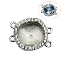 Beadsnice 30809 connector bezel 925 sterling silver cabochons base setting suitable for Austria crystals supplies for jewelry