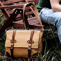 Concrete canvas and premiun leather messenger bag wholesale for US and Euro name brand