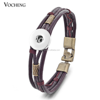 10pcs/lot Wholesale Vocheng Ginger Snap 18mm Button Bracelet Cow Leather Jewelry NN-365*10 Free Shipping