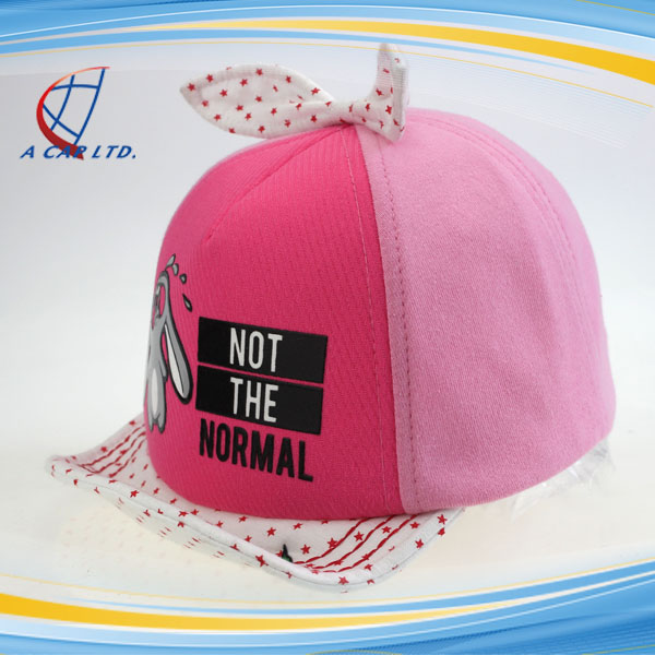 100% Cotton Cute Rabbit Baby Baseball Cap With Folding Cap