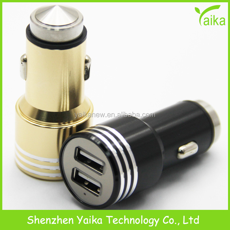 Yaika Fast Charging Safety Hammer Metal Dual Car Charger for iPhone 7 iPad
