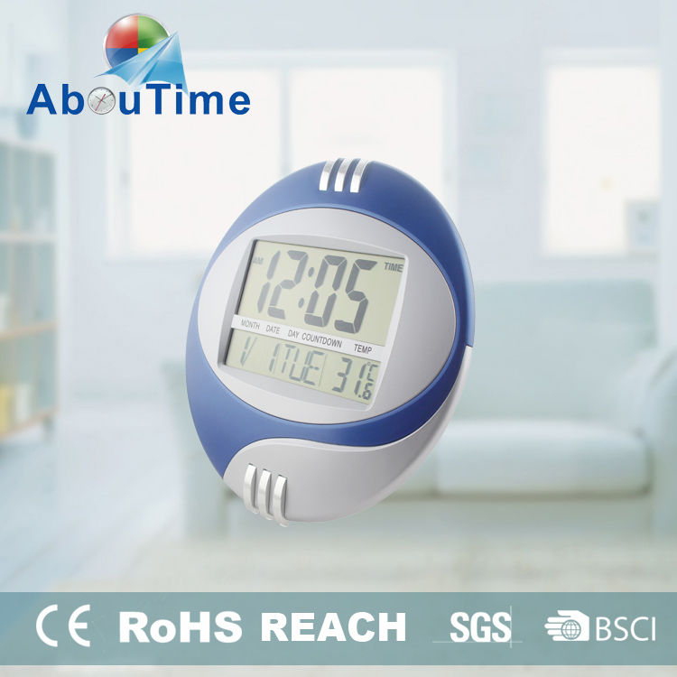 Round Digital Wall Clock with Thermometer