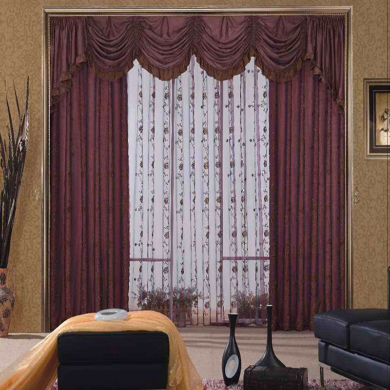 Indian style master bedroom curtain with valance