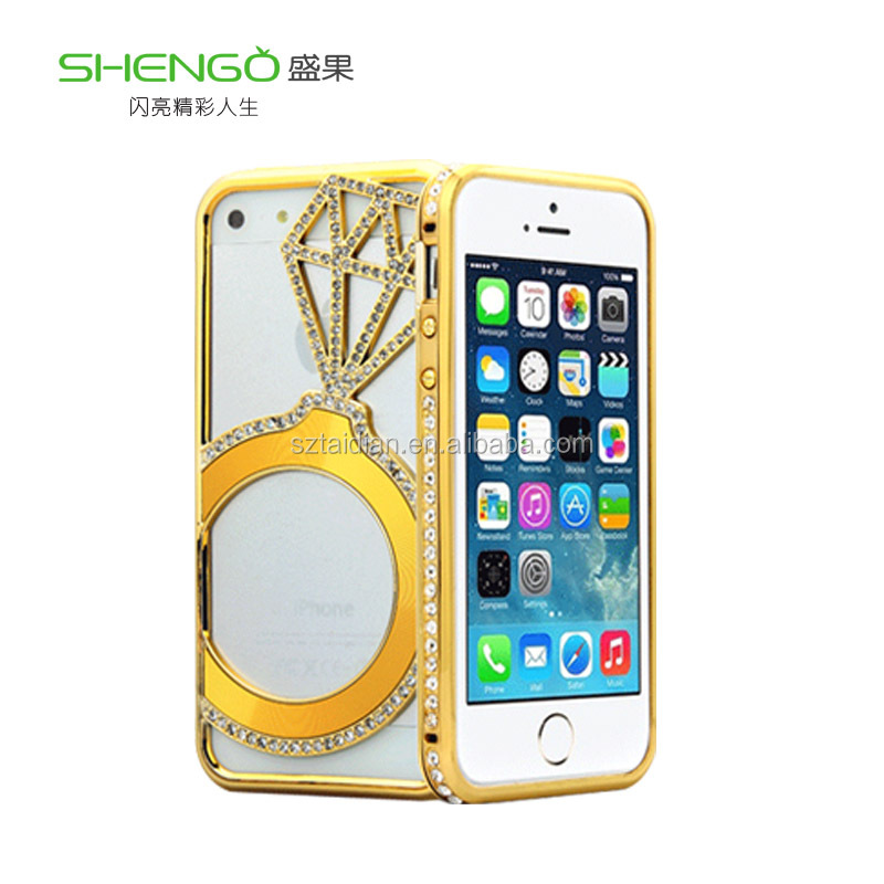 Luxury gold silver high quality phone bag Bling shining crystal diamond ring metal hard bumper frame cover case for iphone 5 5S