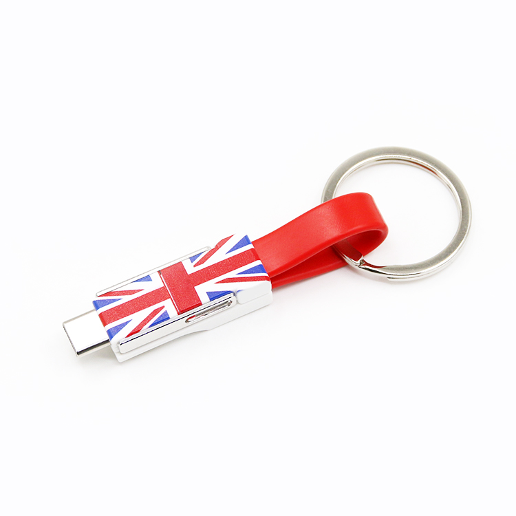 Promotion Gift UK National Flag Custom Design 13cm Keychain Charger USB Cable for iPhone and Samsung with Keyring