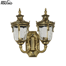 Retro Bronze Double Heads Exterior Wall Lantern E27 85V-280V Waterproof Wall Lamp Porch Light Outdoor Balcony Lamp