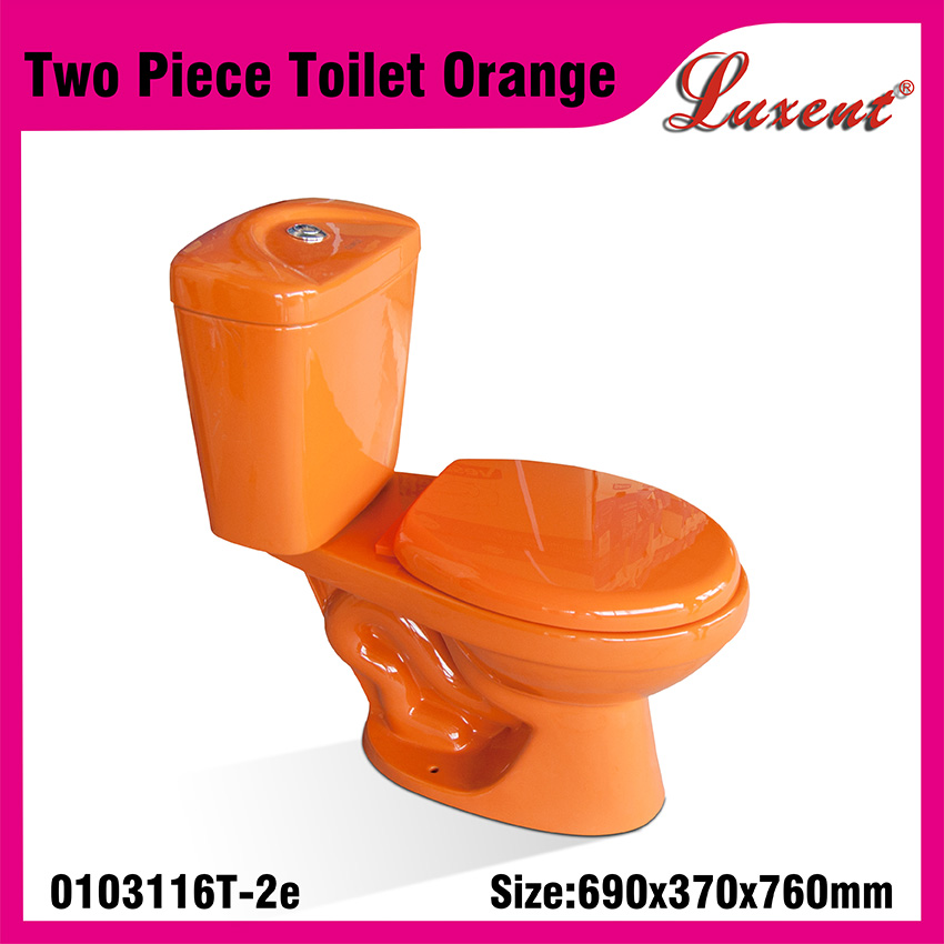Ceramic With Tank Fittings Water Sense Two Piece Water Closet Orange Color