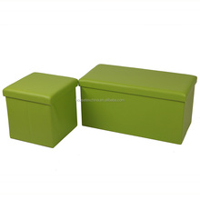 Faux leather home & office furnitures folding storage ottoman