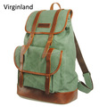 Fashion Vintage Army Green Durable Waxed Canvas Travel Back Pack Bag with Drawstring Closure
