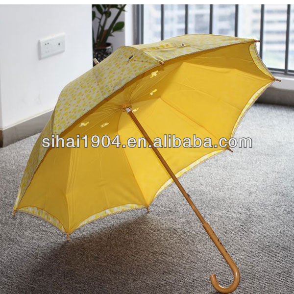 Wooden frame parasol ladies umbrella with lace