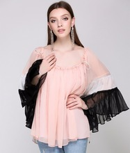 young girl overlay casual wear color block batwing sleeve chiffon blouses elegant designs