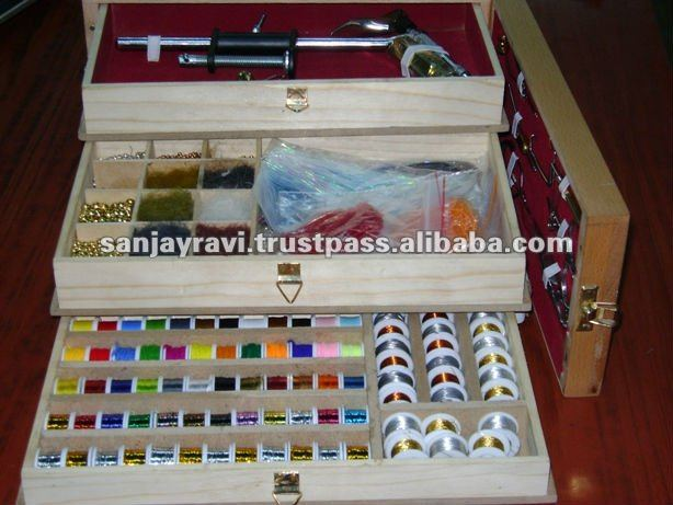 Complete Fly Fishing Tackle Kit Box Magnum Fly Tying Materials