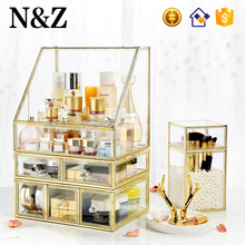 NZ C218 Makeup Organizer Glass Vintage Cosmetic Organizer Storage Box Large Makeup Organizer