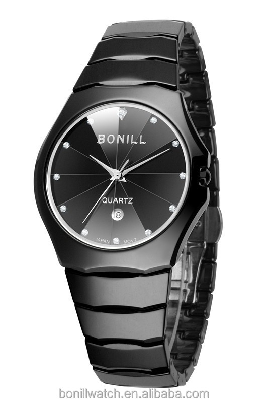 2014 China Supplier Ladies Ceramics Black Fasion Watches by Bonill