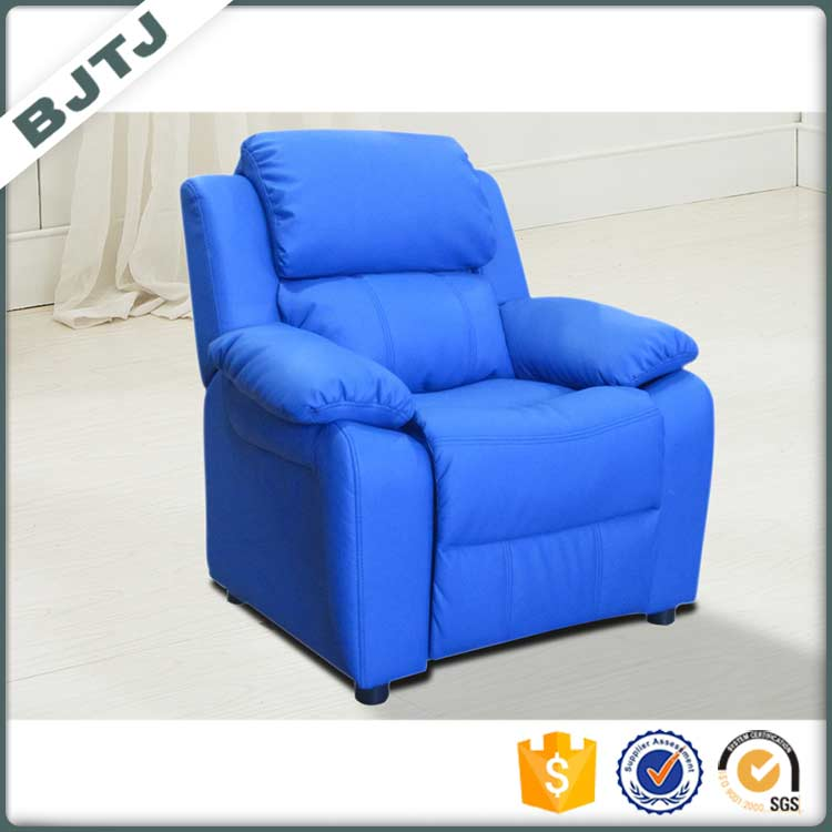 BTJT Blue leather recliner small size children good looking elevating sofa 7985