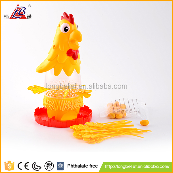 High quality fun promotional mini toy yellow plastic chickens drop game