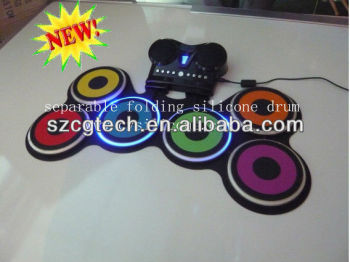 NEW!!! separable folding silicone electronic drum,silicone drum,drum