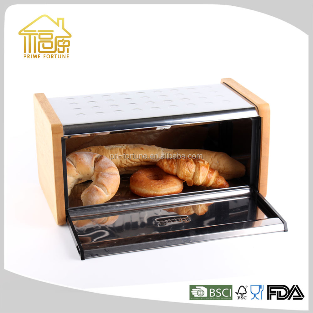 vintage decoration for home stainless steel kitchen wooden bread box