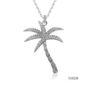 Summer tropical Coconut Tree 925 Silver Necklace
