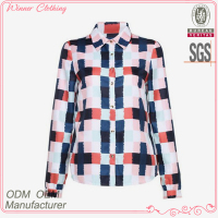 New designs high fashion good quality best price women plaid design 100% cotton uniform shirts and blouses