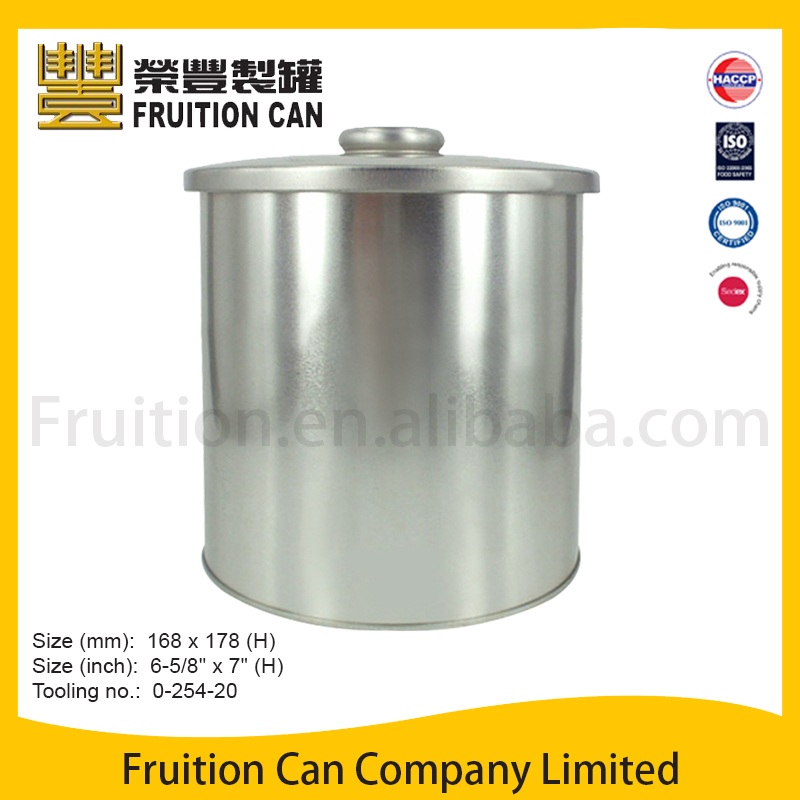 Tin can manufacturer Tall Round Tin with Knob on Lid food can pringles can
