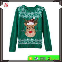 Custom Funny Pictures Festival Young Girls Wearing Knits Sweater for Christmas