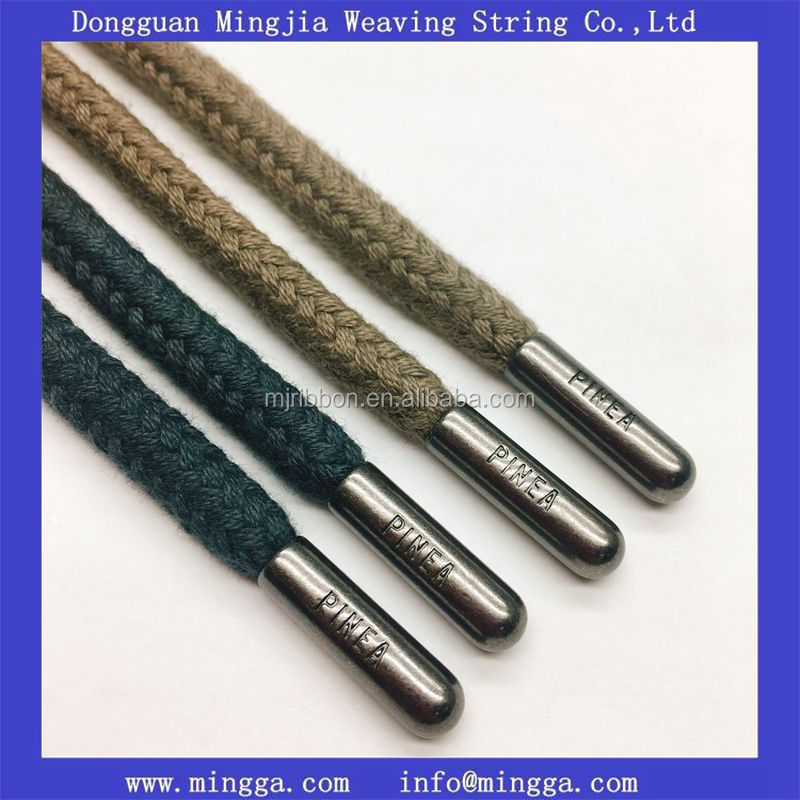 5mm braided colored 100% cotton cord for garments,custom logo drawstring cord with gun metal aglets