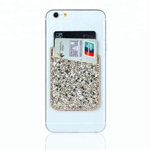 RFID blocking privacy cover 3M synthetic leather card holder adhesive back Smart mobile phone card holder