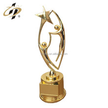 Bulk items custom gold plated star awards trophy with wooden base
