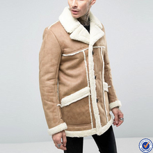 designer coats for men picture button placket faux shearling winter coats in camel