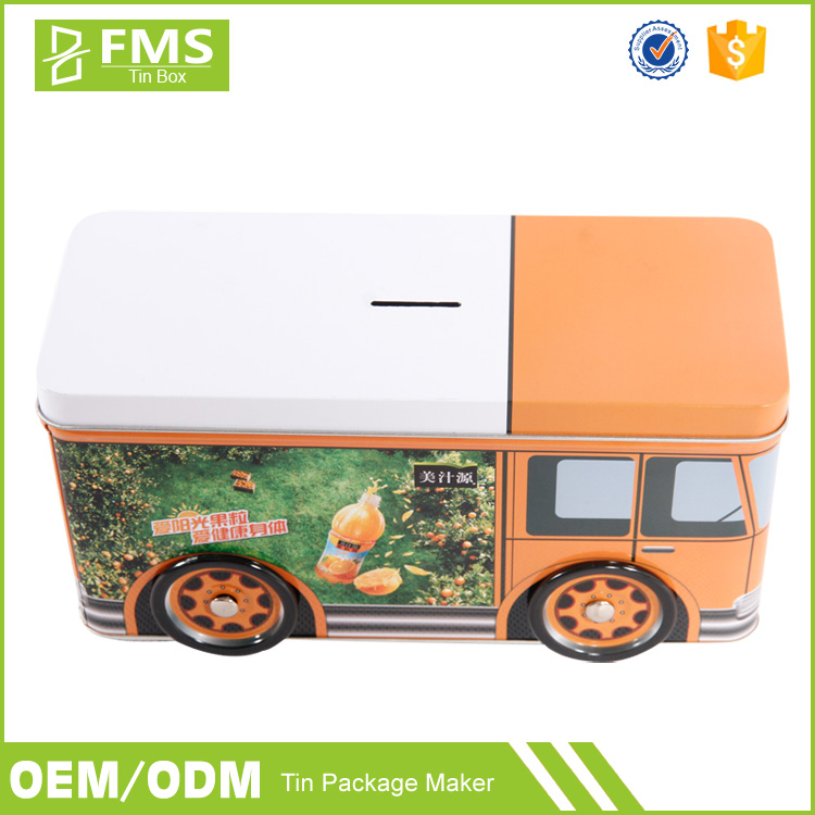 Bus Shape Removable Lid Money Tin Box, Small Metal Money Box, Coin Tin Box