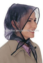 Plastic clear women rain bonnet with mesh lining