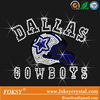 Rhinestone Transfer nfl Chevron Lines Dallas Cowboys Helmet Hotfix Iron On