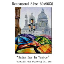 2015 New Designed Manufacturer Directly Support High Quality Rainy Day In Italy Venice Streetscape Oil Painting On Canvas