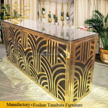 Rectangular Glass top gold stainless steel frame long reception bar table